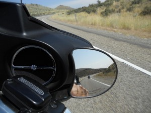 Greg in the side mirror