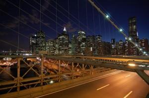 A few building in New York from Brooklyn Bridge